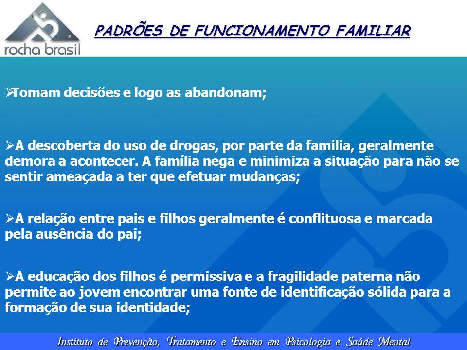 I nstituto de P revenção, T ratamento e E nsino em P sicologia e S aúde M ental PADRÕES DE FUNCIONAMENTO FAMILIAR  Tomam decisões e logo as abandonam