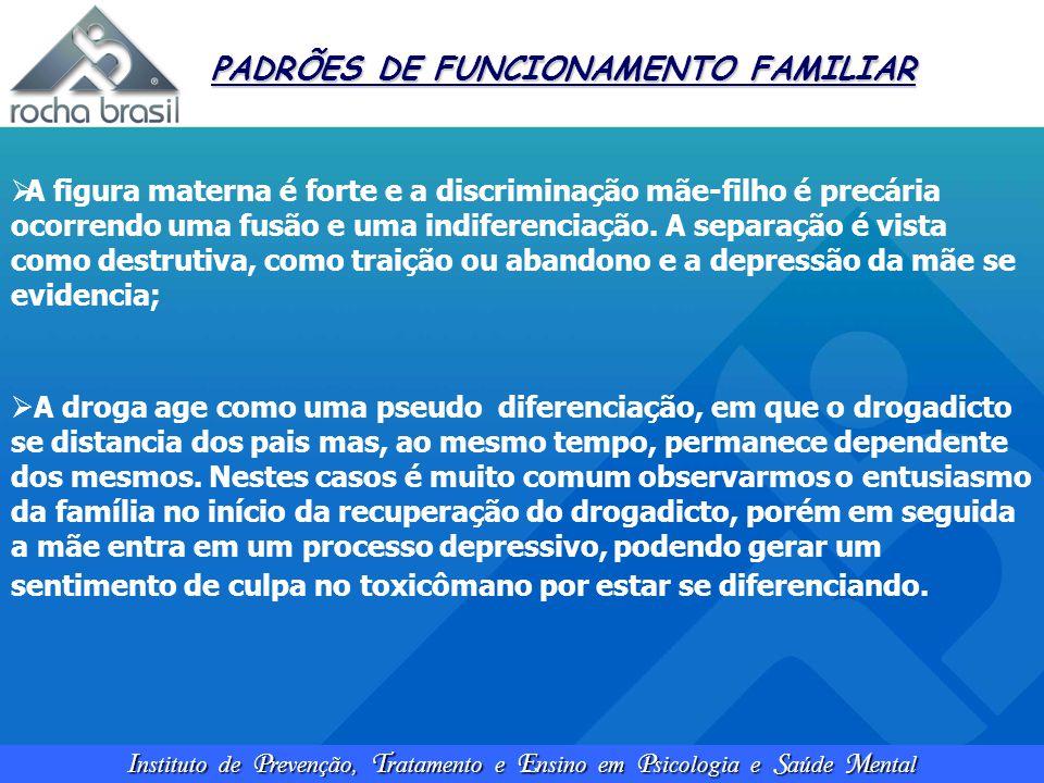 I nstituto de P revenção, T ratamento e E nsino em P sicologia e S aúde M ental PADRÕES DE FUNCIONAMENTO FAMILIAR  A figura materna é forte e a discr