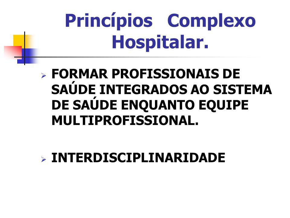 Princípios Complexo Hospitalar.  FORMAR PROFISSIONAIS DE SAÚDE INTEGRADOS AO SISTEMA DE SAÚDE ENQUANTO EQUIPE MULTIPROFISSIONAL.  INTERDISCIPLINARID