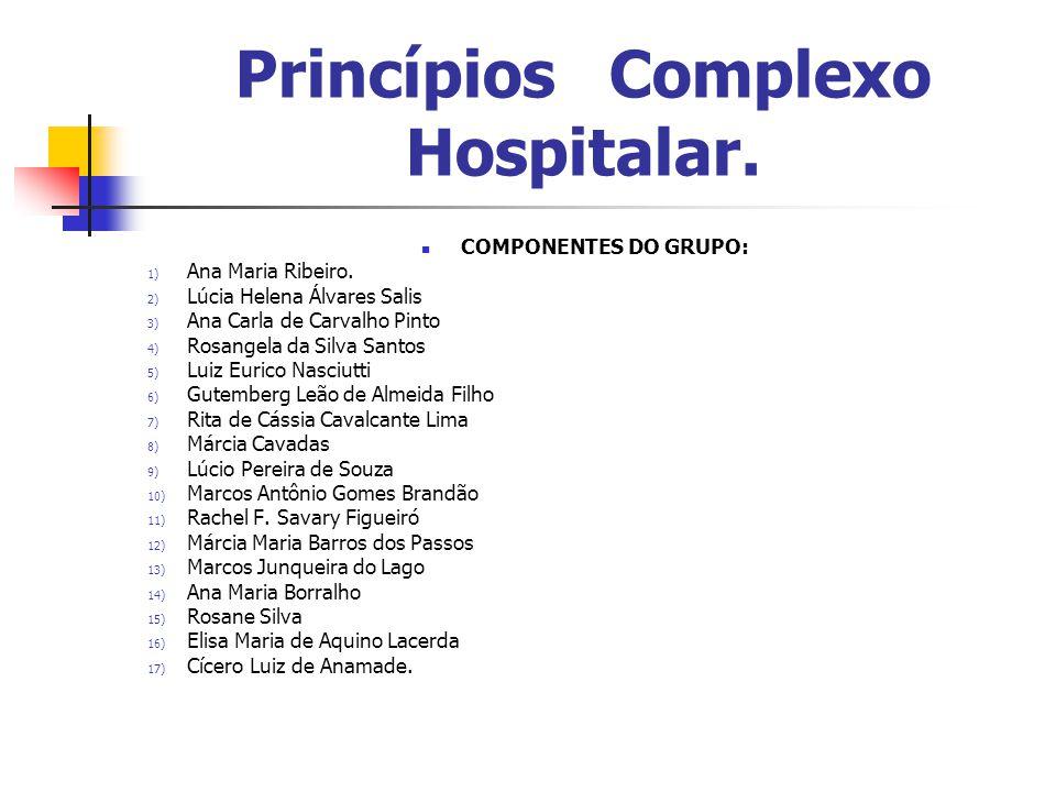 Princípios Complexo Hospitalar. COMPONENTES DO GRUPO: 1) Ana Maria Ribeiro. 2) Lúcia Helena Álvares Salis 3) Ana Carla de Carvalho Pinto 4) Rosangela
