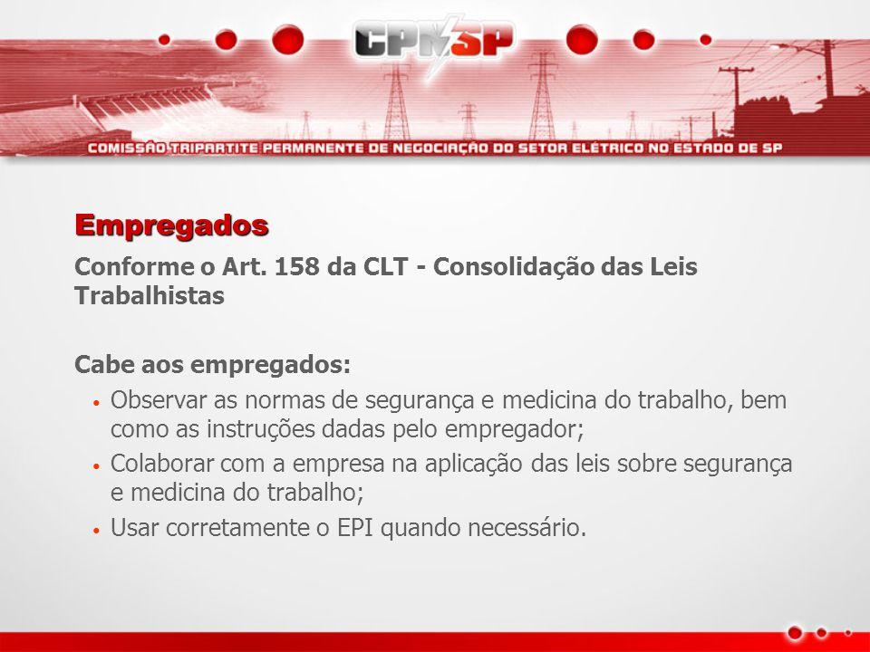 Empregados Conforme o Art. 158 da CLT - Consolidação das Leis Trabalhistas Cabe aos empregados: Observar as normas de segurança e medicina do trabalho