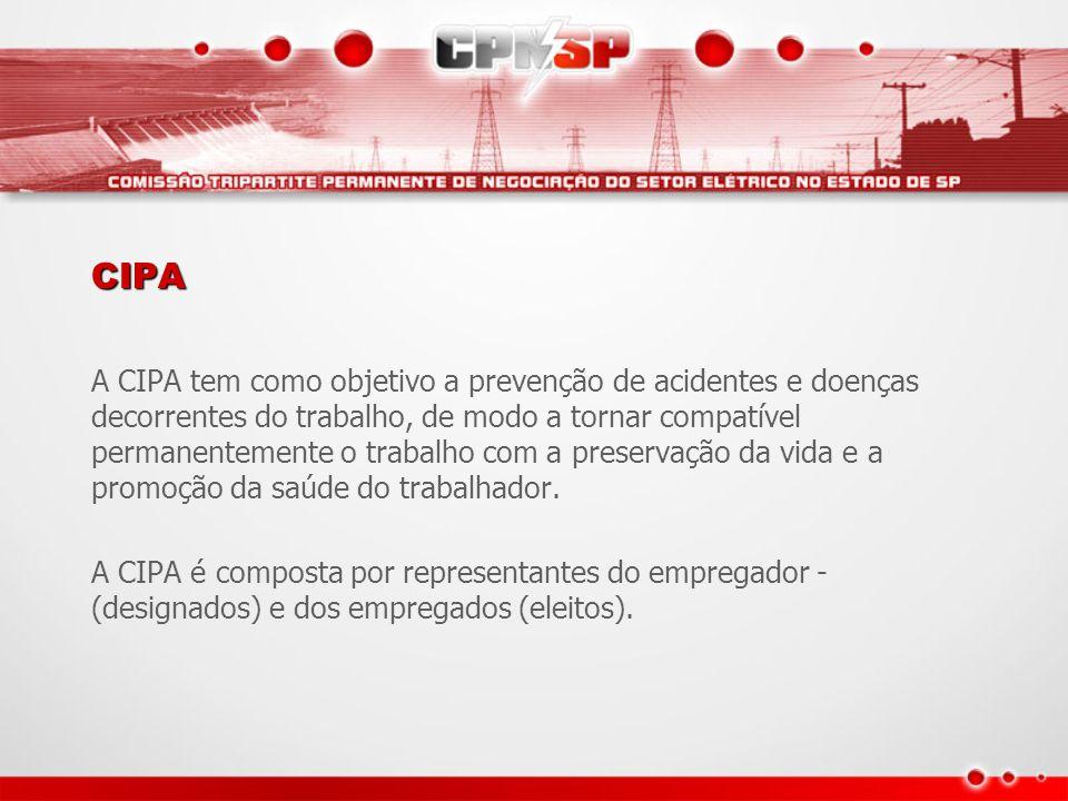 CIPA A CIPA tem como objetivo a prevenção de acidentes e doenças decorrentes do trabalho, de modo a tornar compatível permanentemente o trabalho com a preservação da vida e a promoção da saúde do trabalhador.