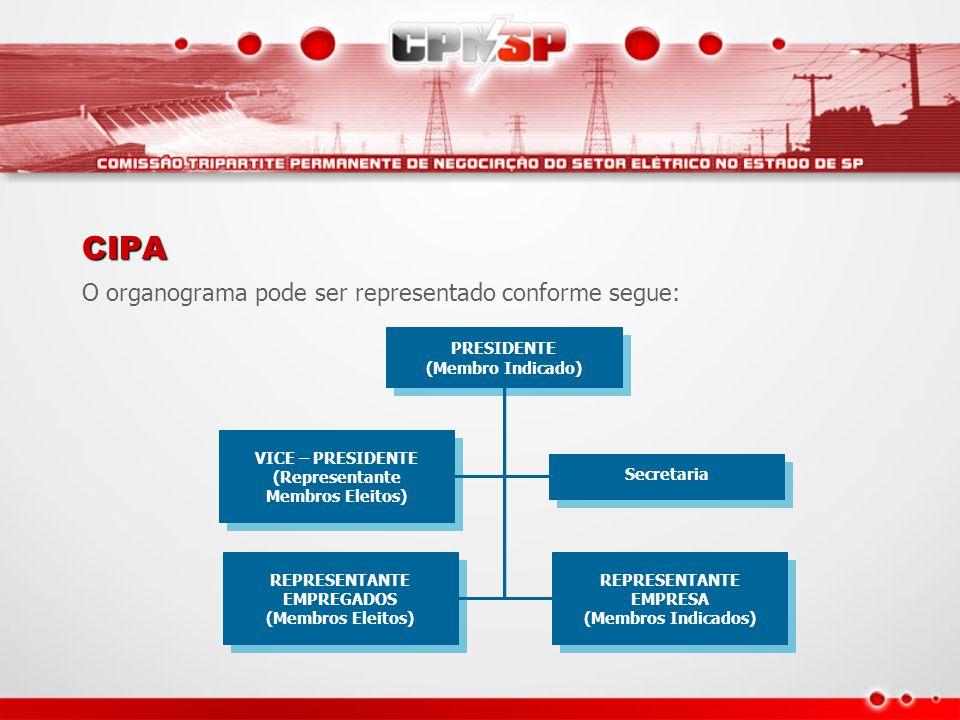 CIPA O organograma pode ser representado conforme segue: PRESIDENTE (Membro Indicado) PRESIDENTE (Membro Indicado) VICE – PRESIDENTE (Representante Me
