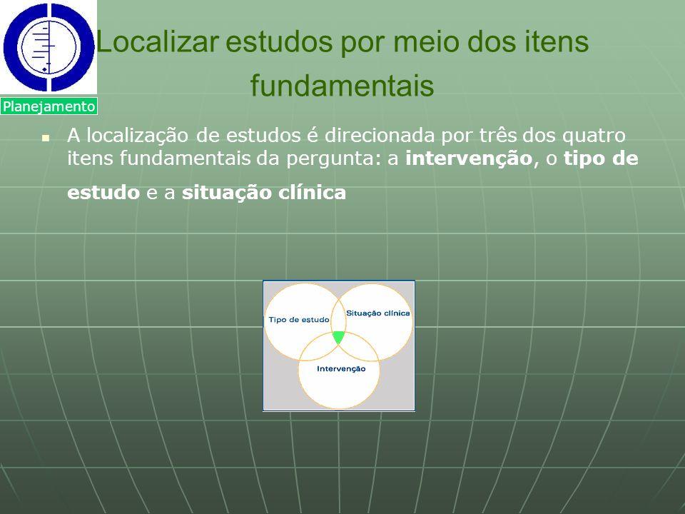 Localizar estudos por meio dos itens fundamentais A localização de estudos é direcionada por três dos quatro itens fundamentais da pergunta: a interve