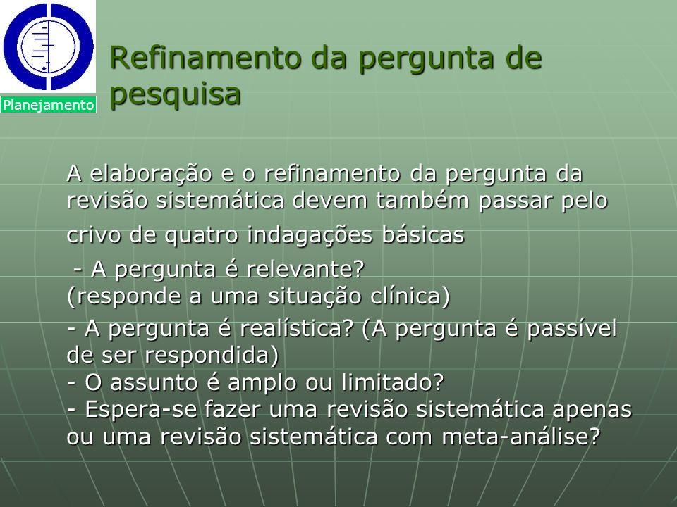 Refinamento da pergunta de pesquisa A elaboração e o refinamento da pergunta da revisão sistemática devem também passar pelo crivo de quatro indagaçõe
