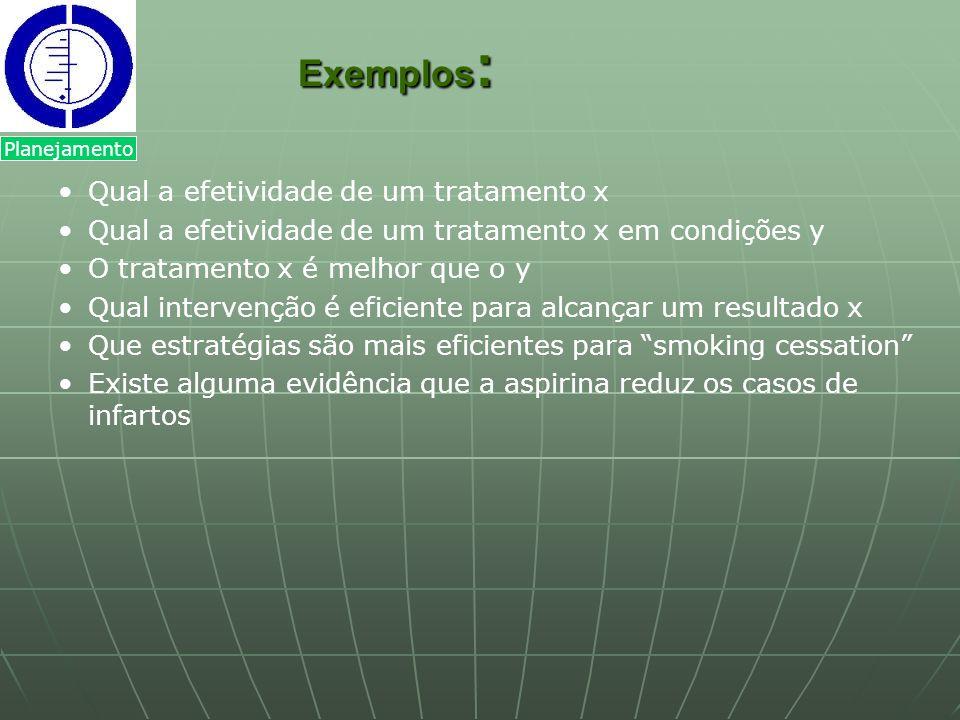 Exemplos : Exemplos : Qual a efetividade de um tratamento x Qual a efetividade de um tratamento x em condições y O tratamento x é melhor que o y Qual