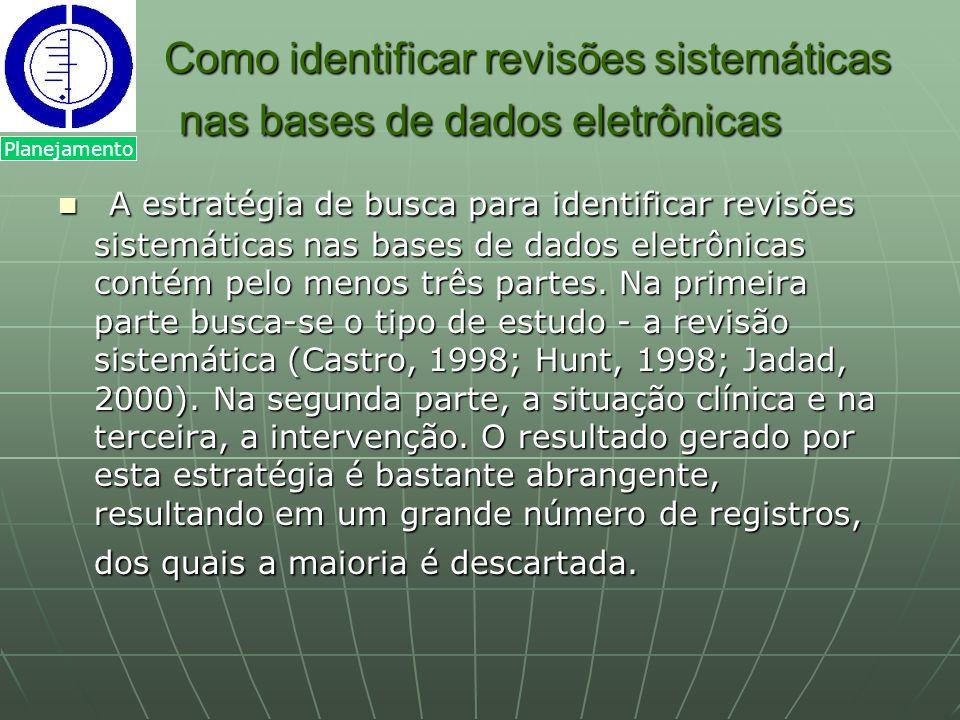 Como identificar revisões sistemáticas nas bases de dados eletrônicas A estratégia de busca para identificar revisões sistemáticas nas bases de dados