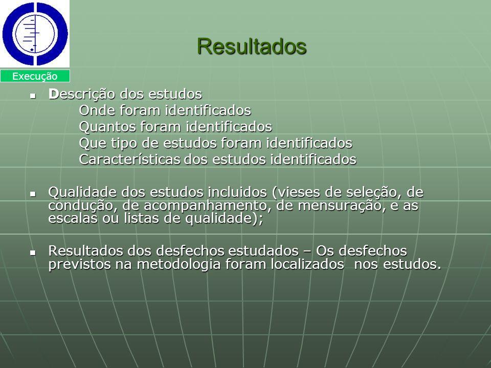 Resultados Resultados Descrição dos estudos Descrição dos estudos Onde foram identificados Quantos foram identificados Que tipo de estudos foram ident