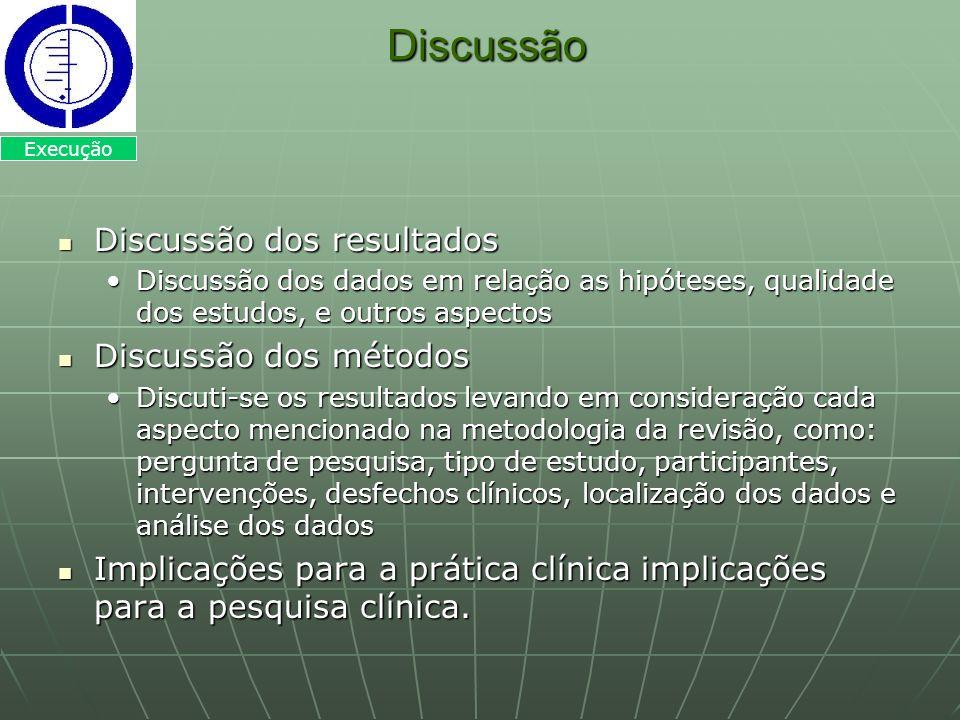 Discussão Discussão Discussão dos resultados Discussão dos resultados Discussão dos dados em relação as hipóteses, qualidade dos estudos, e outros asp