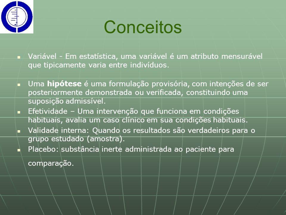 Conceitos Variável - Em estatística, uma variável é um atributo mensurável que tipicamente varia entre indivíduos. Uma hipótese é uma formulação provi