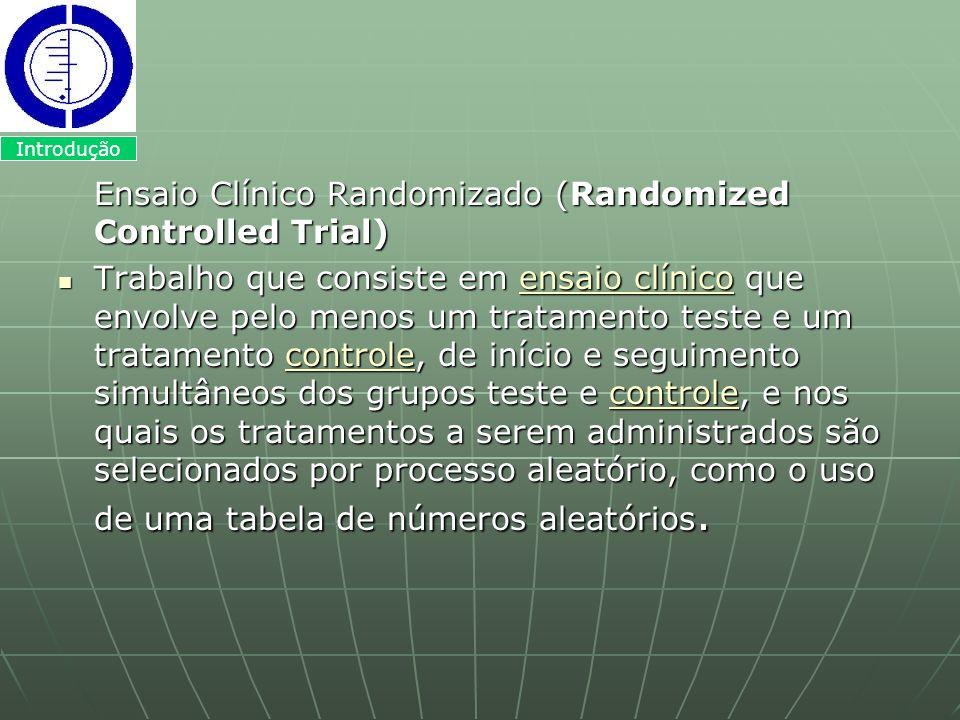 Ensaio Clínico Randomizado (Randomized Controlled Trial) Trabalho que consiste em ensaio clínico que envolve pelo menos um tratamento teste e um trata