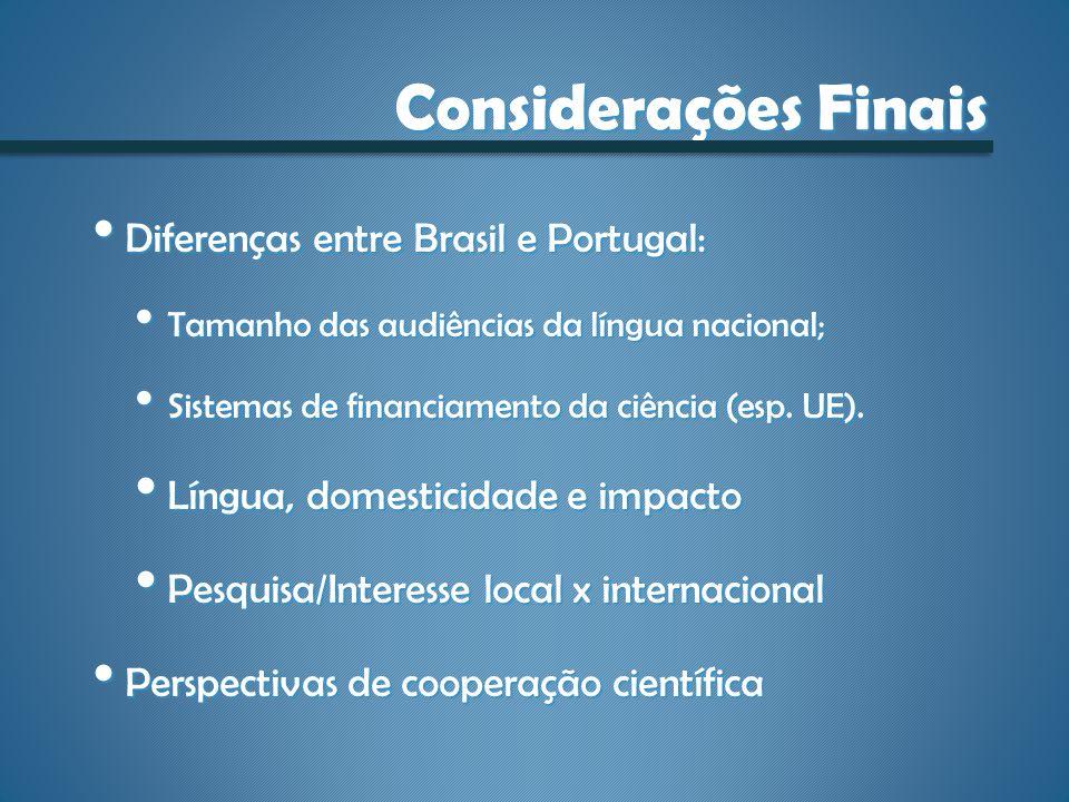 Considerações Finais Diferenças entre Brasil e Portugal: Diferenças entre Brasil e Portugal: Tamanho das audiências da língua nacional; Tamanho das au