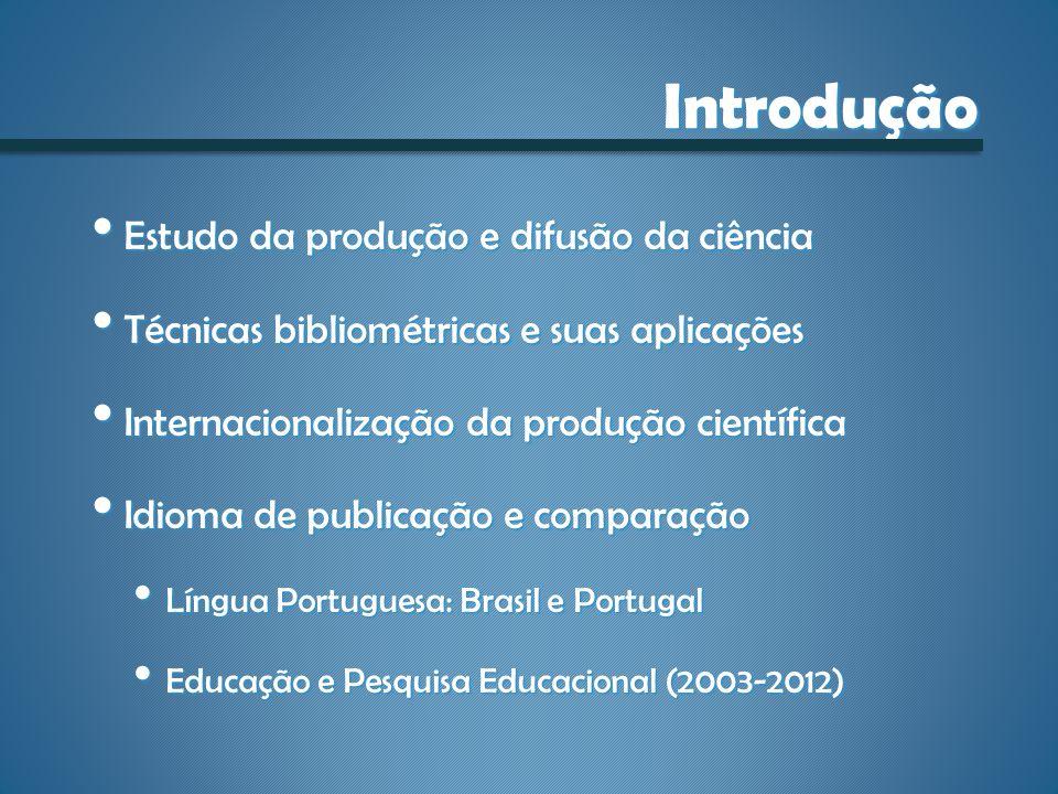 Introdução Estudo da produção e difusão da ciência Estudo da produção e difusão da ciência Técnicas bibliométricas e suas aplicações Técnicas bibliomé
