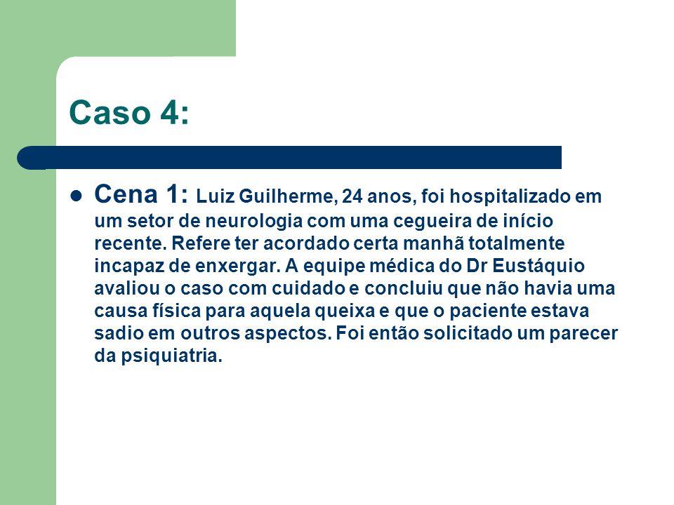 Caso 4: Cena 1: Luiz Guilherme, 24 anos, foi hospitalizado em um setor de neurologia com uma cegueira de início recente. Refere ter acordado certa man