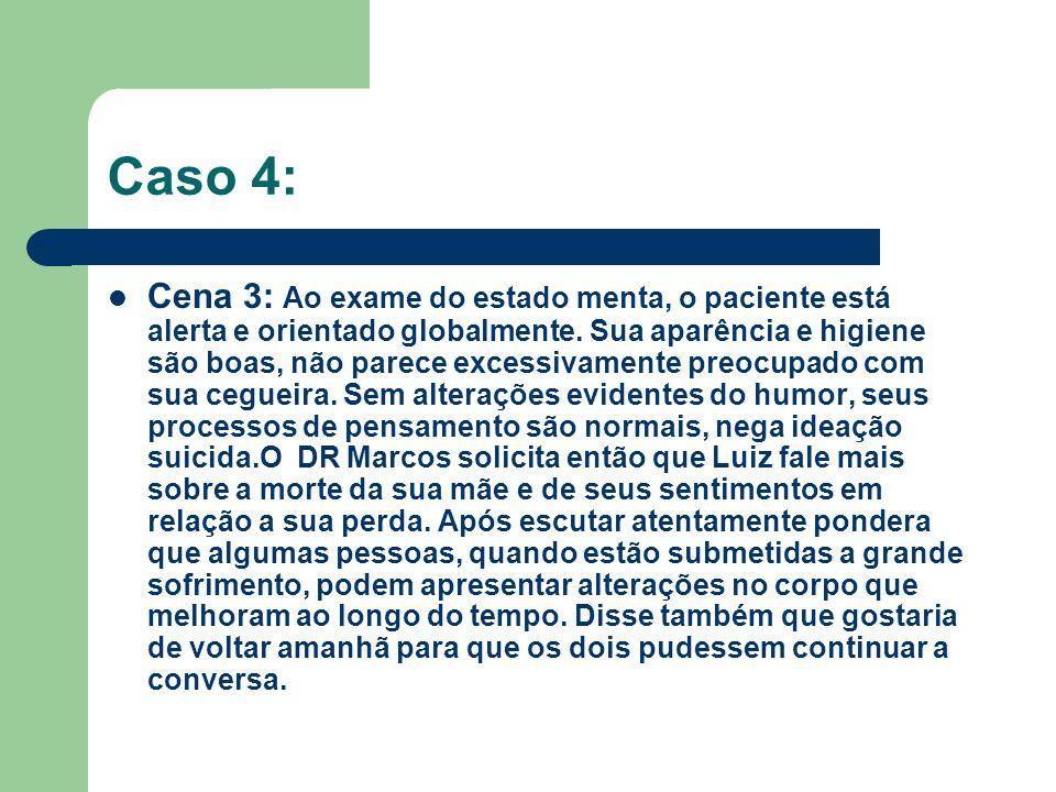 Caso 4: Cena 3: Ao exame do estado menta, o paciente está alerta e orientado globalmente. Sua aparência e higiene são boas, não parece excessivamente