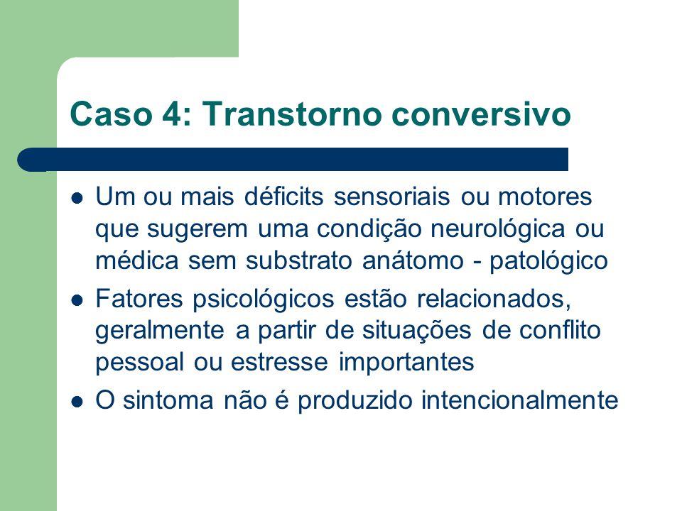 Caso 4: Transtorno conversivo Um ou mais déficits sensoriais ou motores que sugerem uma condição neurológica ou médica sem substrato anátomo - patológ