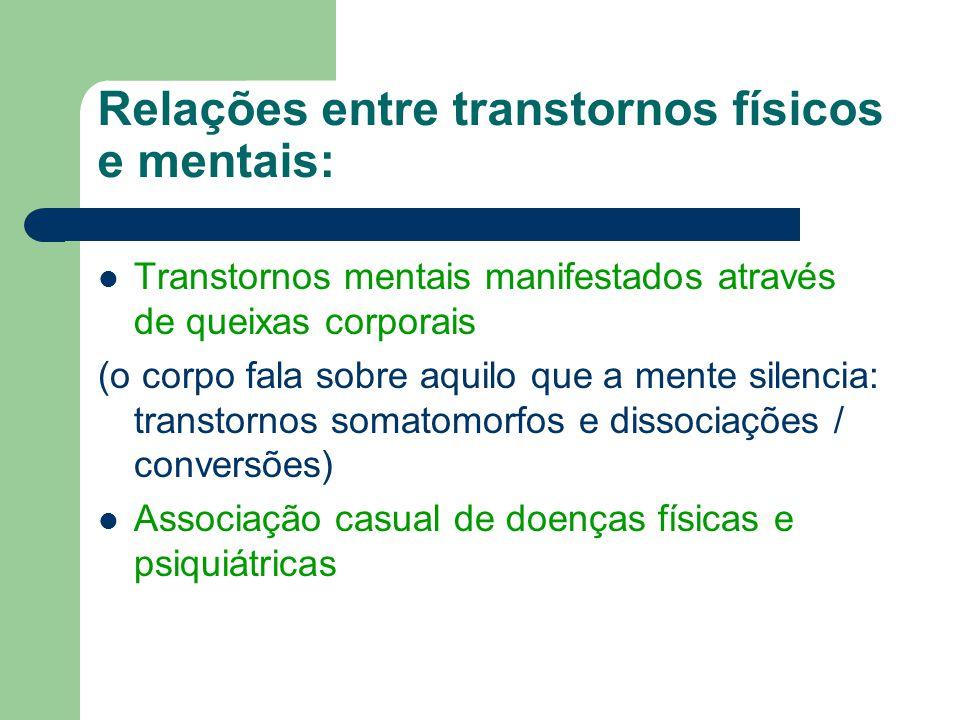 Relações entre transtornos físicos e mentais: Transtornos mentais manifestados através de queixas corporais (o corpo fala sobre aquilo que a mente sil