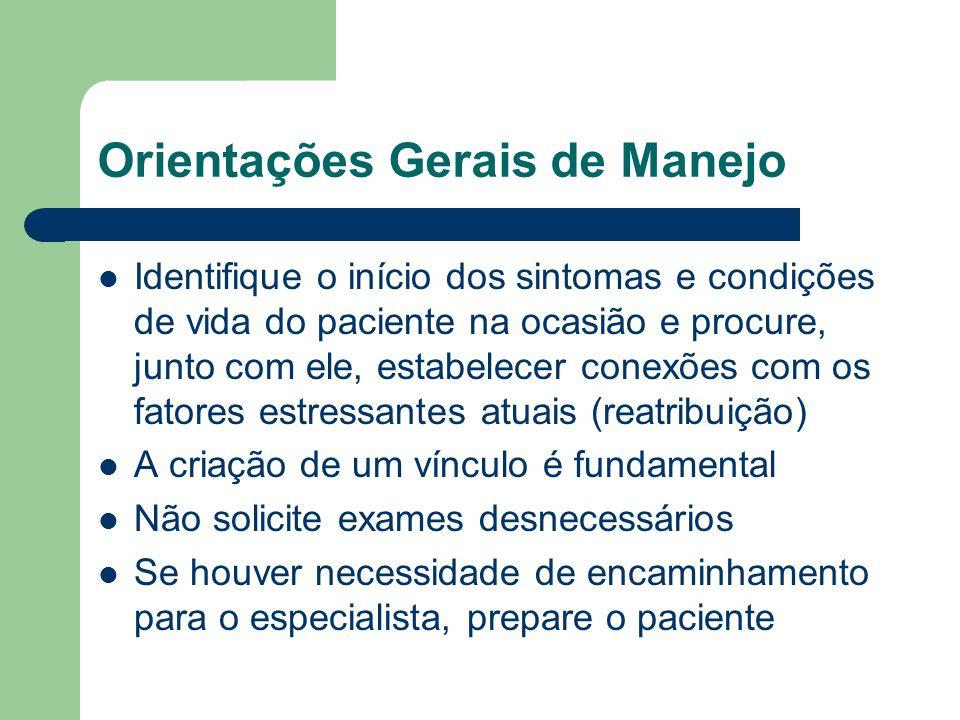 Orientações Gerais de Manejo Identifique o início dos sintomas e condições de vida do paciente na ocasião e procure, junto com ele, estabelecer conexõ