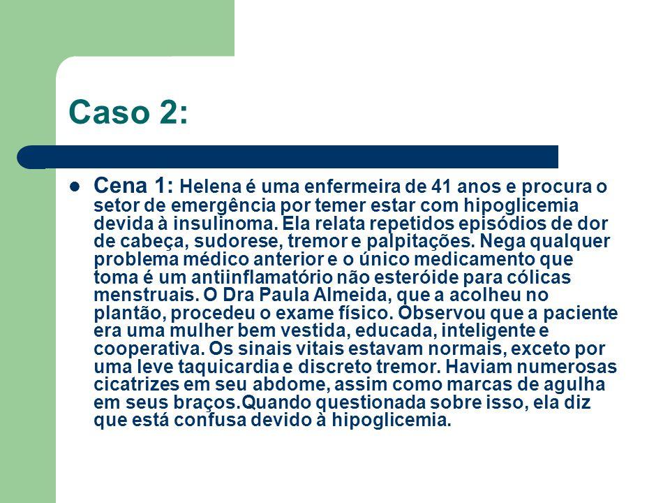 Caso 2: Cena 1: Helena é uma enfermeira de 41 anos e procura o setor de emergência por temer estar com hipoglicemia devida à insulinoma. Ela relata re