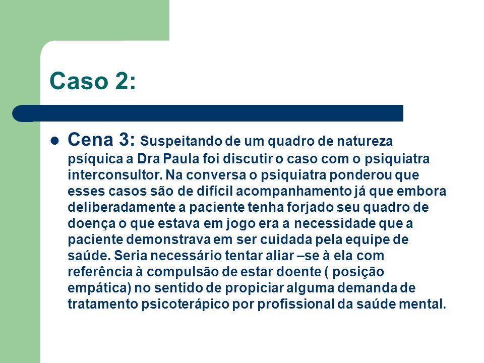 Caso 2: Cena 3: Suspeitando de um quadro de natureza psíquica a Dra Paula foi discutir o caso com o psiquiatra interconsultor. Na conversa o psiquiatr