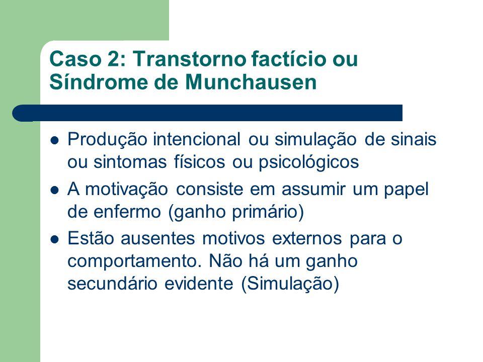 Caso 2: Transtorno factício ou Síndrome de Munchausen Produção intencional ou simulação de sinais ou sintomas físicos ou psicológicos A motivação cons