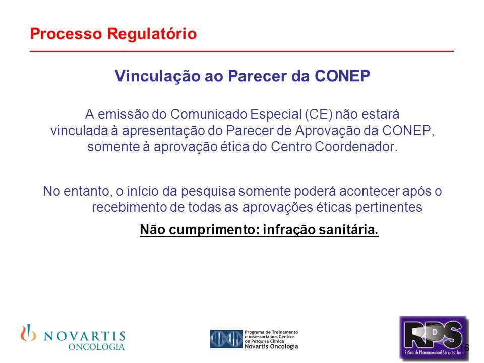 16 Processo Regulatório _______________________________________________ Vinculação ao Parecer da CONEP A emissão do Comunicado Especial (CE) não estar