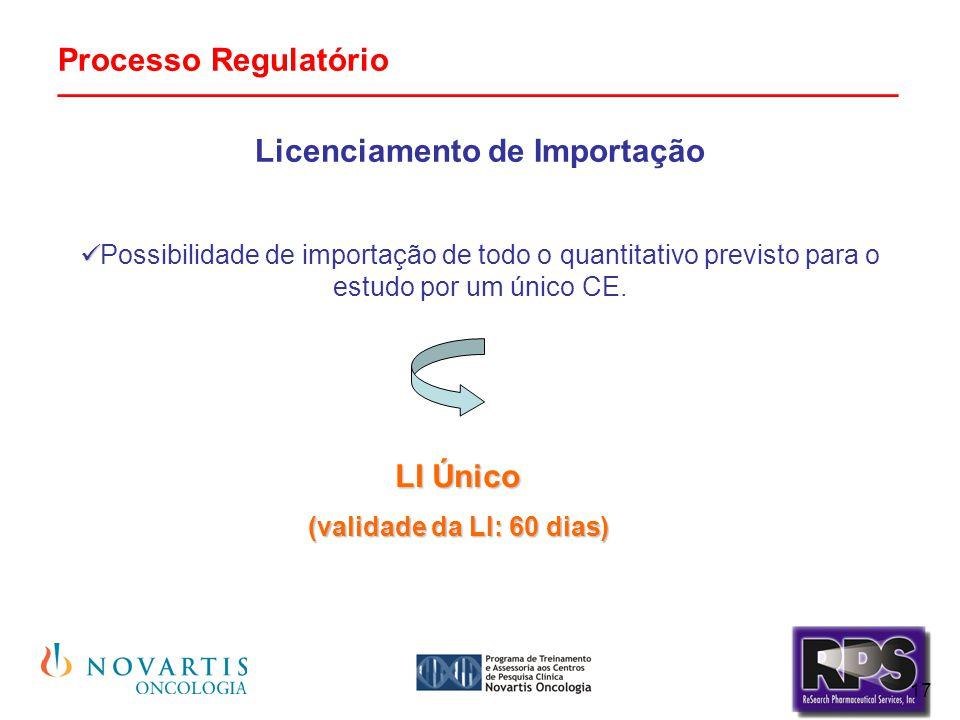 17 Processo Regulatório _______________________________________________ Licenciamento de Importação Possibilidade de importação de todo o quantitativo