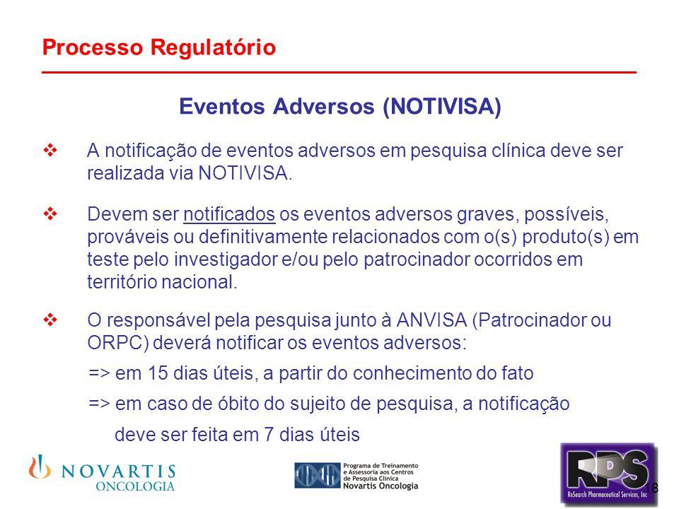 18 Processo Regulatório _______________________________________________ Eventos Adversos (NOTIVISA)  A notificação de eventos adversos em pesquisa cl