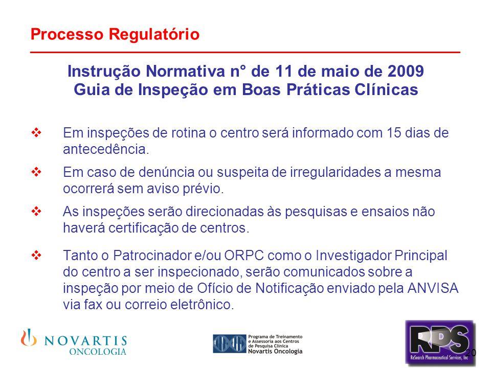 20 Processo Regulatório _______________________________________________ Instrução Normativa n° de 11 de maio de 2009 Guia de Inspeção em Boas Práticas