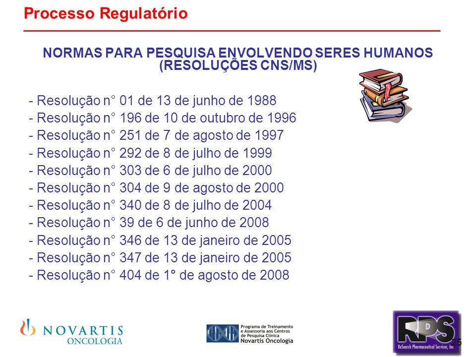 25 Processo Regulatório _______________________________________________ NORMAS PARA PESQUISA ENVOLVENDO SERES HUMANOS (RESOLUÇÕES CNS/MS) - Resolução