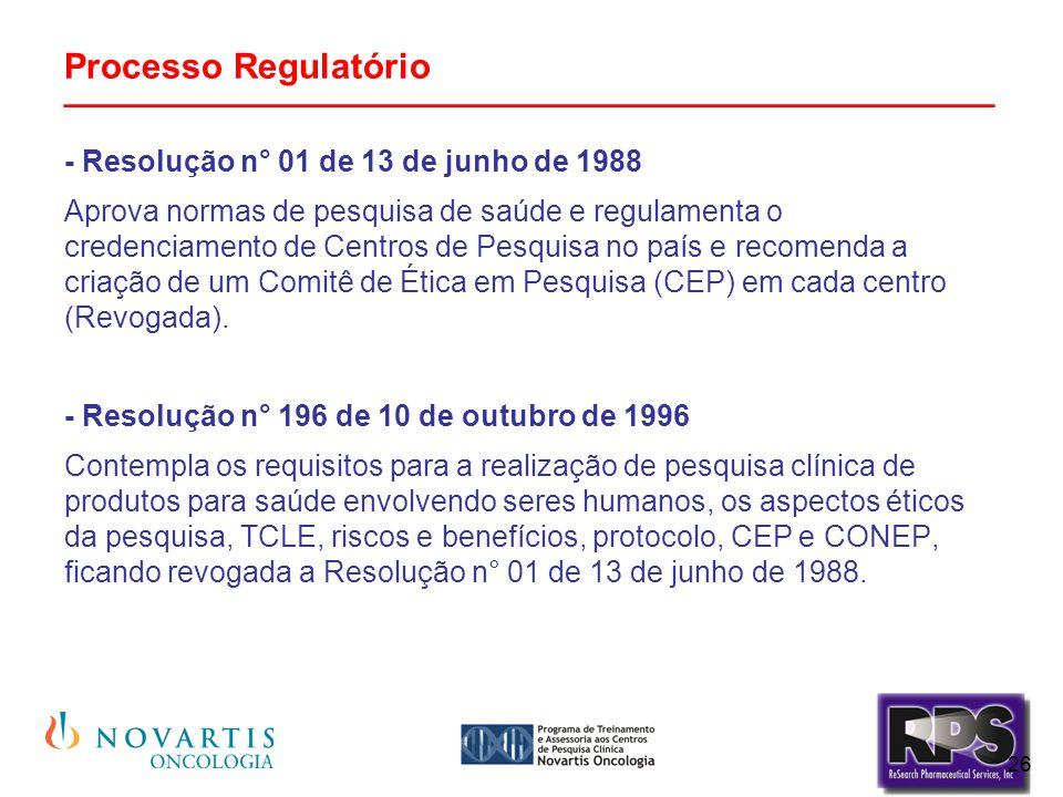 26 Processo Regulatório _______________________________________________ - Resolução n° 01 de 13 de junho de 1988 Aprova normas de pesquisa de saúde e