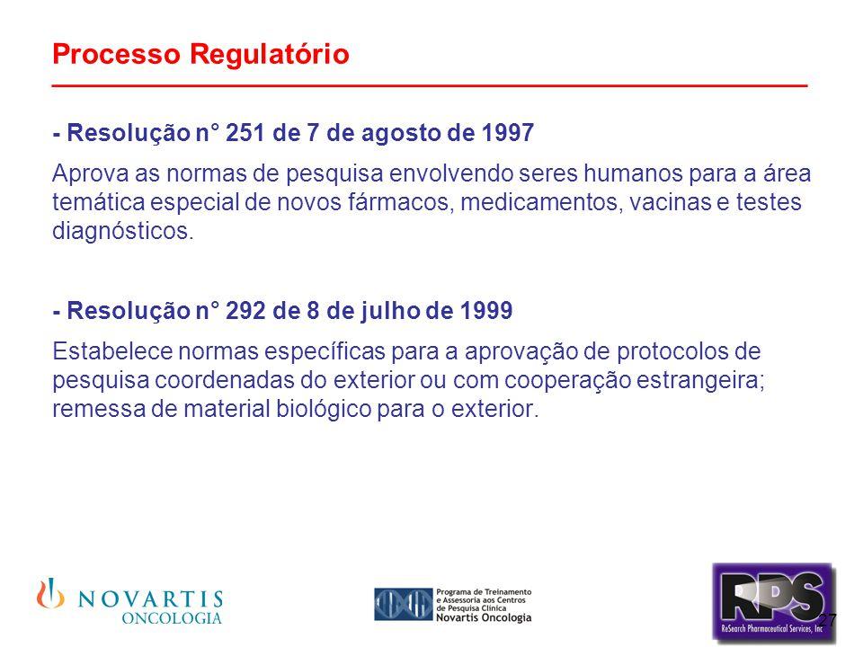 27 Processo Regulatório _______________________________________________ - Resolução n° 251 de 7 de agosto de 1997 Aprova as normas de pesquisa envolve