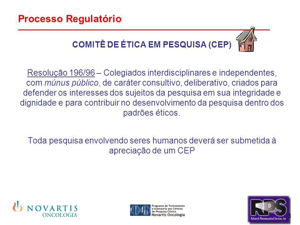 4 Processo Regulatório _______________________________________________  Todo CEP deve ser registrado na Comissão Nacional de Ética em Pesquisa (CONEP) conforme a Resolução 196/96.