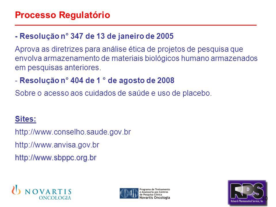 30 Processo Regulatório _______________________________________________ - Resolução n° 347 de 13 de janeiro de 2005 Aprova as diretrizes para análise