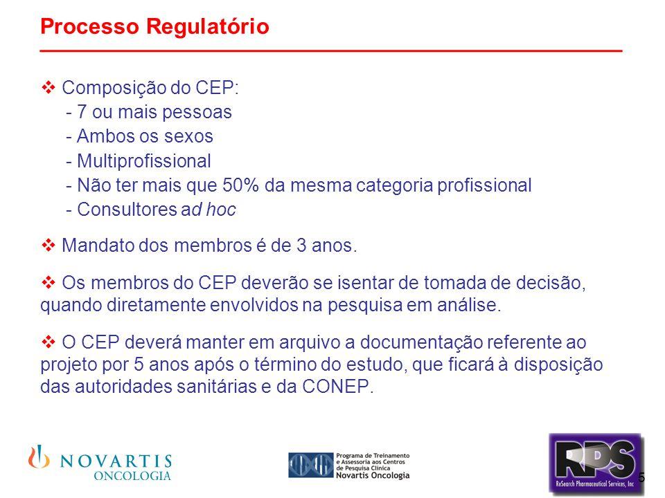 5 Processo Regulatório _______________________________________________  Composição do CEP: - 7 ou mais pessoas - Ambos os sexos - Multiprofissional -