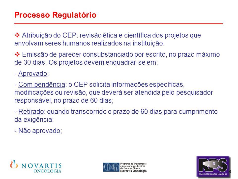 6 Processo Regulatório _______________________________________________  Atribuição do CEP: revisão ética e científica dos projetos que envolvam seres