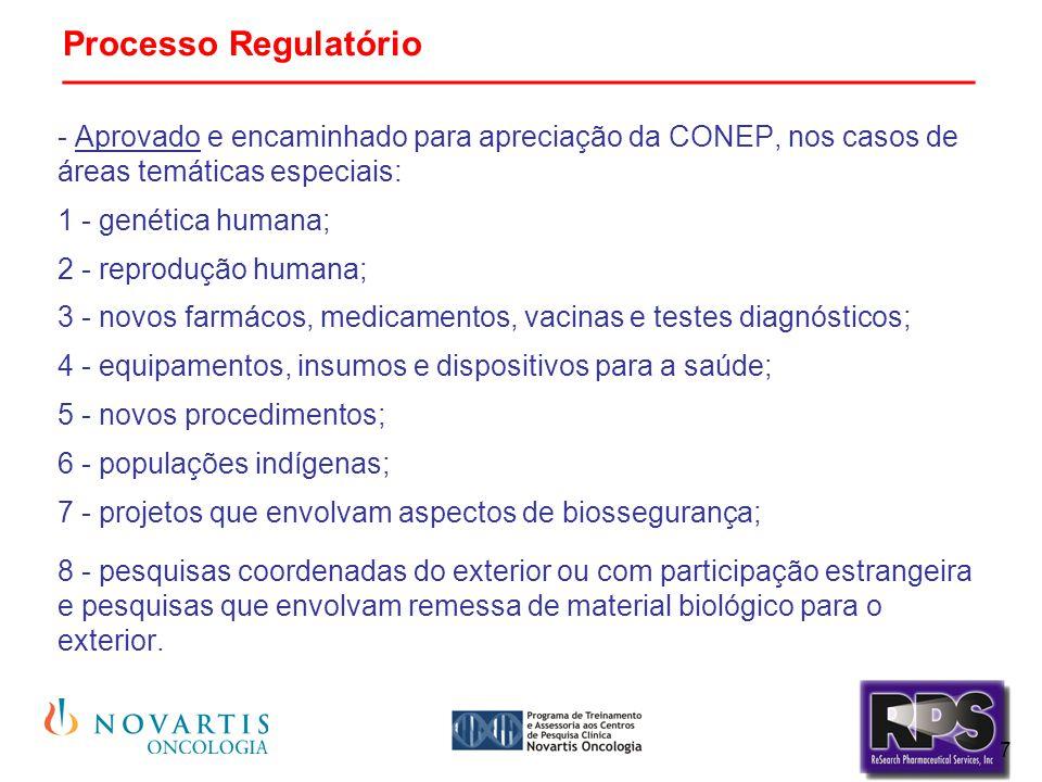 7 Processo Regulatório _______________________________________________ - Aprovado e encaminhado para apreciação da CONEP, nos casos de áreas temáticas