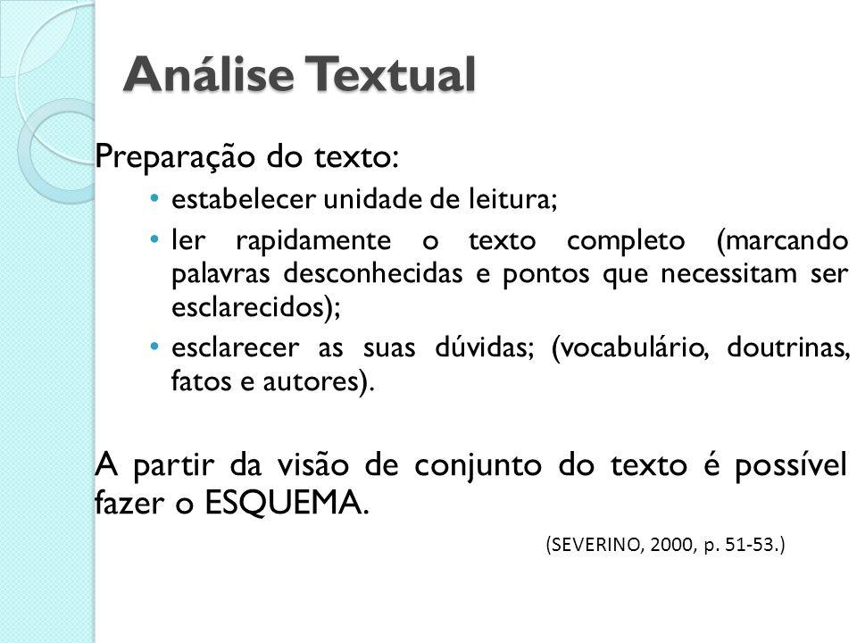 Fases da Leitura Análise Textual Análise Temática Análise Interpretativa Problematização Síntese Pessoal
