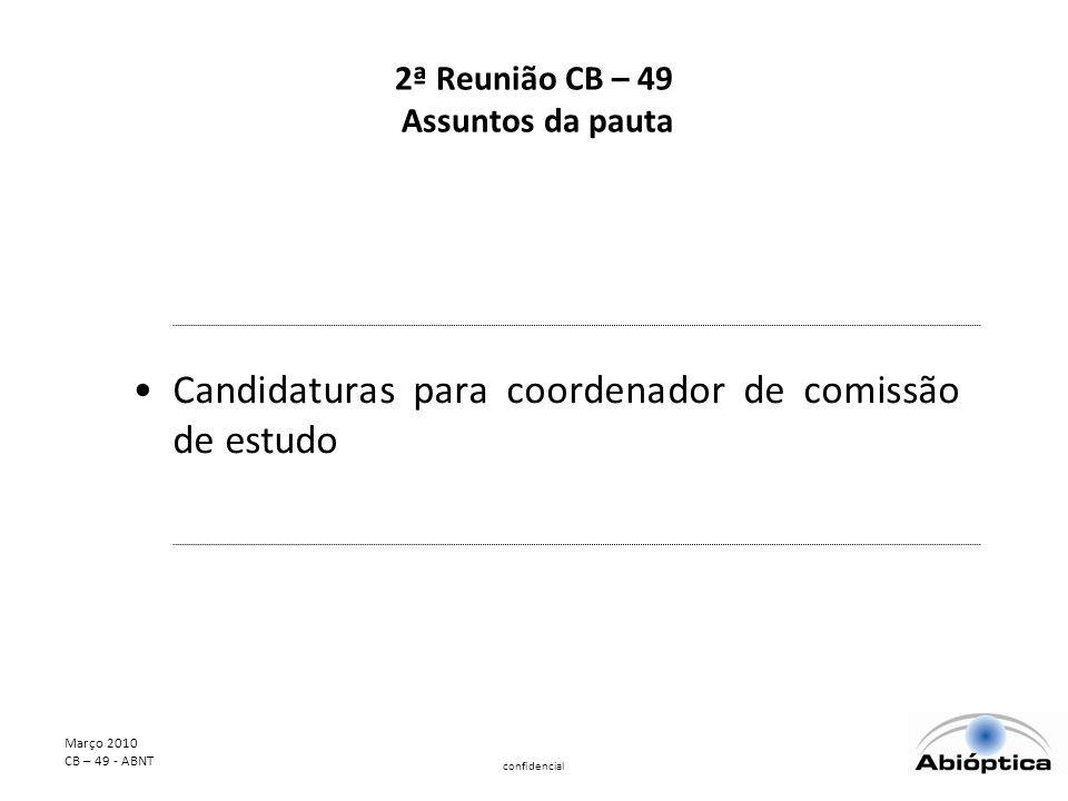 Março 2010 CB – 49 - ABNT confidencial 2ª Reunião CB – 49 Assuntos da pauta Candidaturas para coordenador de comissão de estudo