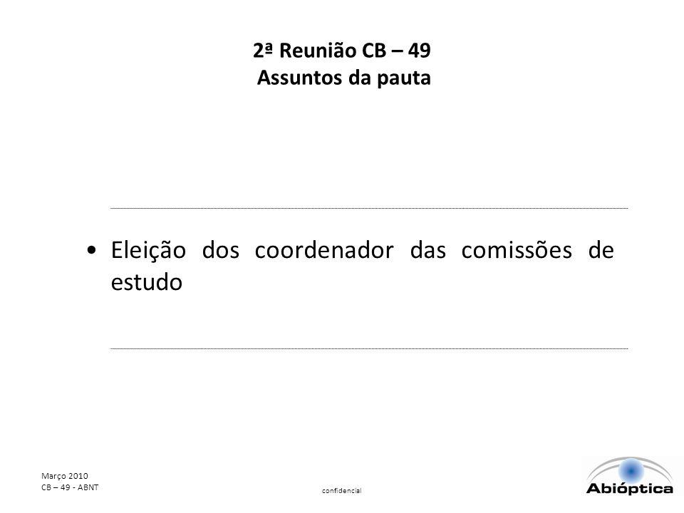 Março 2010 CB – 49 - ABNT confidencial 2ª Reunião CB – 49 Assuntos da pauta Eleição dos coordenador das comissões de estudo
