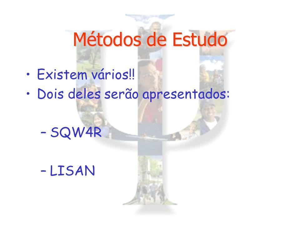 Métodos de Estudo Existem vários!! Dois deles serão apresentados: –SQW4R –LISAN