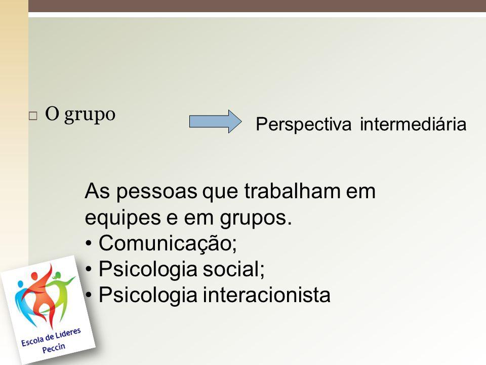  O grupo Perspectiva intermediária As pessoas que trabalham em equipes e em grupos. Comunicação; Psicologia social; Psicologia interacionista