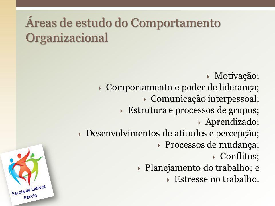  Motivação;  Comportamento e poder de liderança;  Comunicação interpessoal;  Estrutura e processos de grupos;  Aprendizado;  Desenvolvimentos de