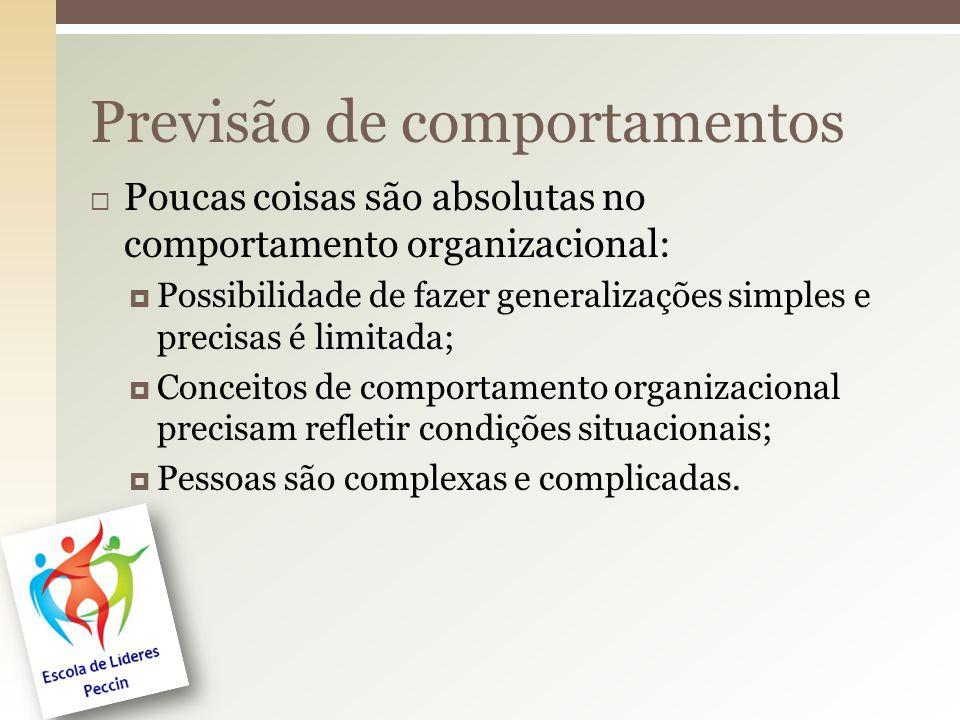  Poucas coisas são absolutas no comportamento organizacional:  Possibilidade de fazer generalizações simples e precisas é limitada;  Conceitos de c