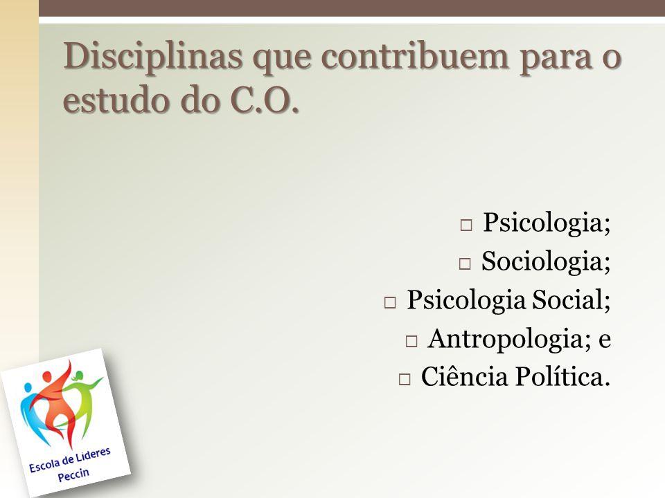  Psicologia;  Sociologia;  Psicologia Social;  Antropologia; e  Ciência Política. Disciplinas que contribuem para o estudo do C.O.
