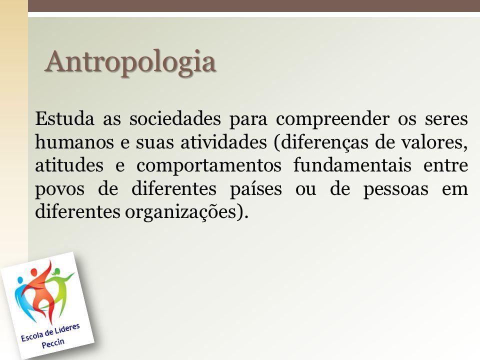 Estuda as sociedades para compreender os seres humanos e suas atividades (diferenças de valores, atitudes e comportamentos fundamentais entre povos de