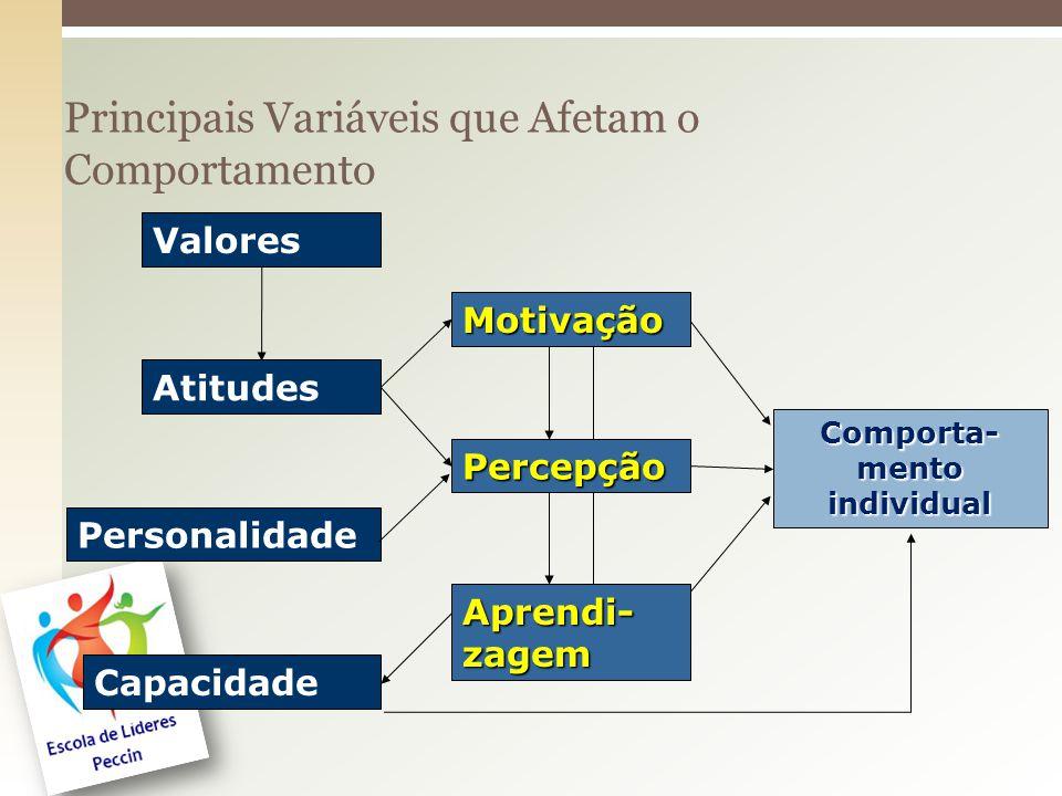 Principais Variáveis que Afetam o Comportamento Valores Atitudes Personalidade Capacidade Comporta- mento individual Motivação Percepção Aprendi- zage