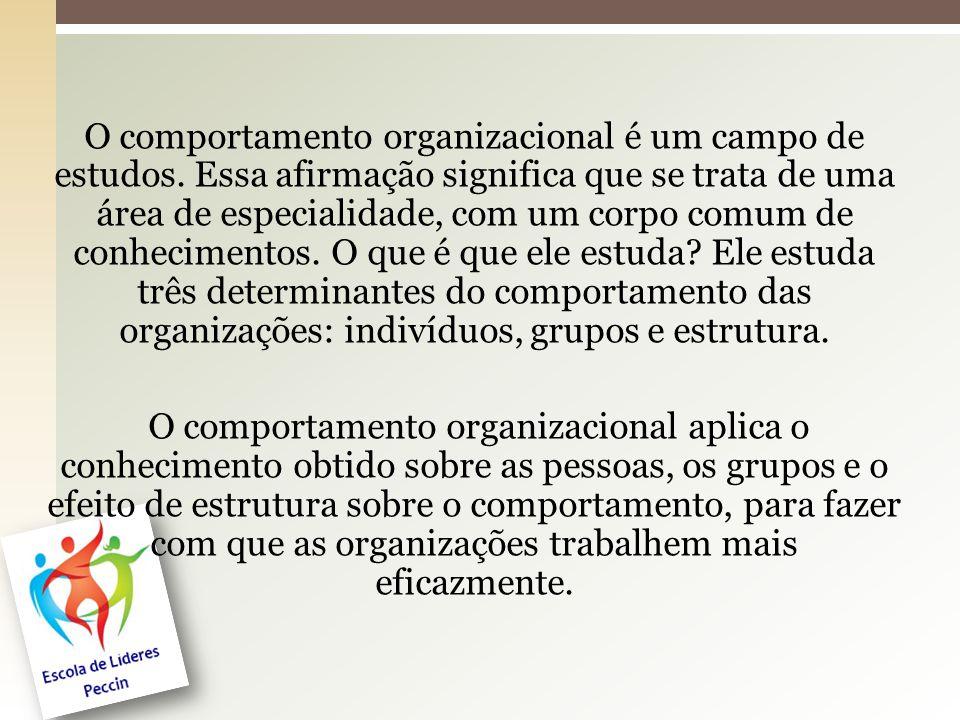 O comportamento organizacional é um campo de estudos. Essa afirmação significa que se trata de uma área de especialidade, com um corpo comum de conhec