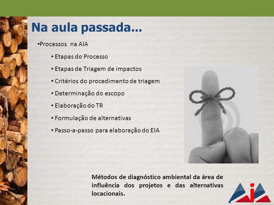 Na aula passada... Processos na AIA Etapas do Processo Etapas de Triagem de impactos Critérios do procedimento de triagem Determinação do escopo Elabo