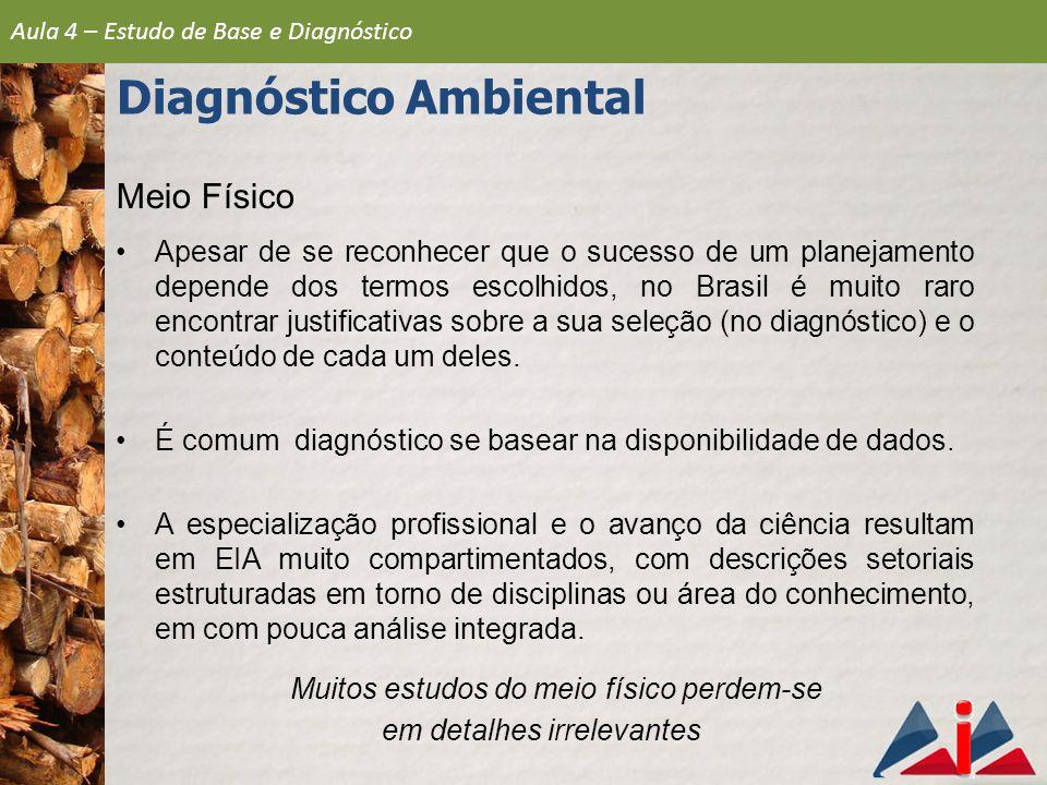 Meio Físico Apesar de se reconhecer que o sucesso de um planejamento depende dos termos escolhidos, no Brasil é muito raro encontrar justificativas so